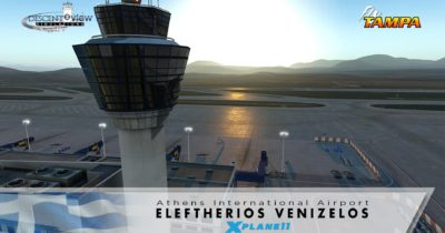 The port over of FlyTampa Athens by Descent2View for X-Plane 11