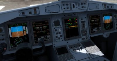 The cockpit of the Milviz ATR 72-600 with displays and instruments